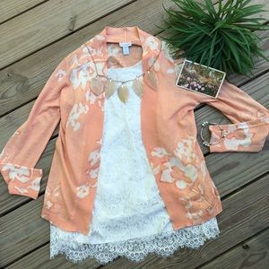 Chico's SZ 1  (M) Lovely Peach Floral Cardigan